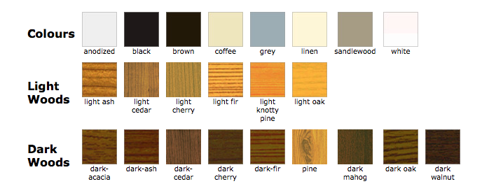 available colours and wood finishes for retractable screens